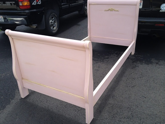 Twin sleigh bed painted in Annie Sloan Chalk Paint in Antoinette, with clear and dark wax. Gold gilded details.