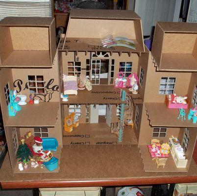 Кукольный домик с мебелью своими руками из коробки