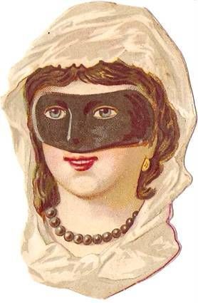 Victorian Lady Mask Party Die Cut 1880s