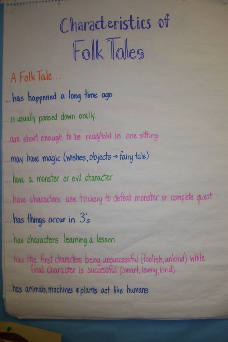 Characteristics of Folk Tales | Lang Arts Anchor Charts | Pinterest