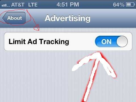 what is limit ad tracking on iphone 5
