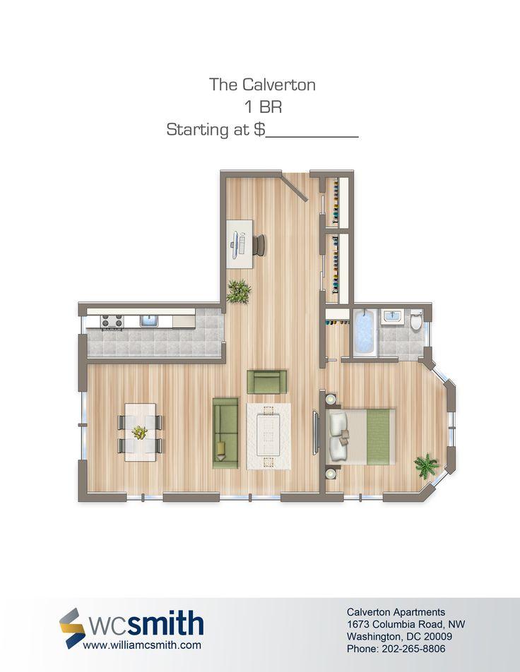 one bedroom floor plan the calverton in northwest washington dc