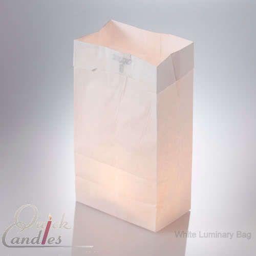100 White Luminary Candle Bags Luminaria Candlelight