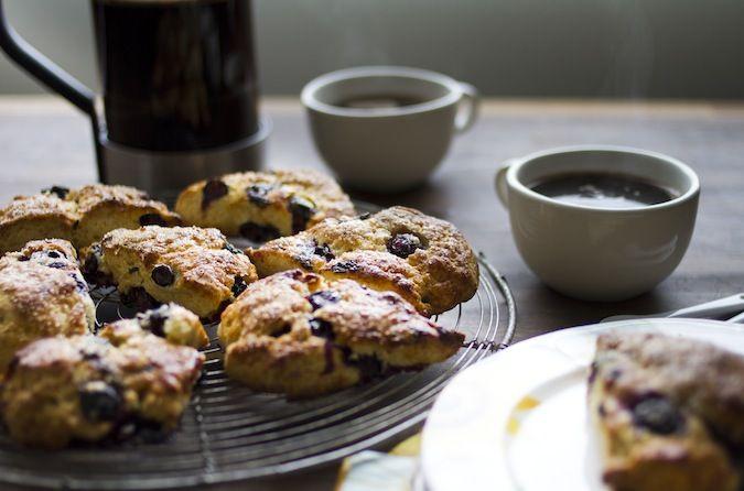 Blueberry & Meyer Lemon Scones with Coffee