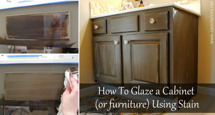 Tutorial on How To Glaze a Cabinet (or furniture) using Stain by @