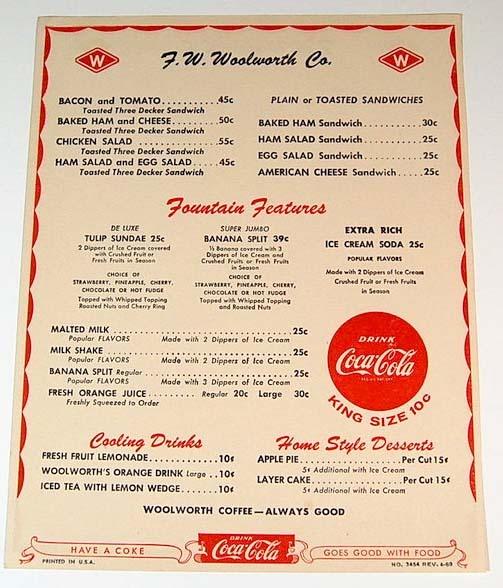 Woolworths Restaurant Design Quarter : Woolworth s counter menu vintage restaurants bergen