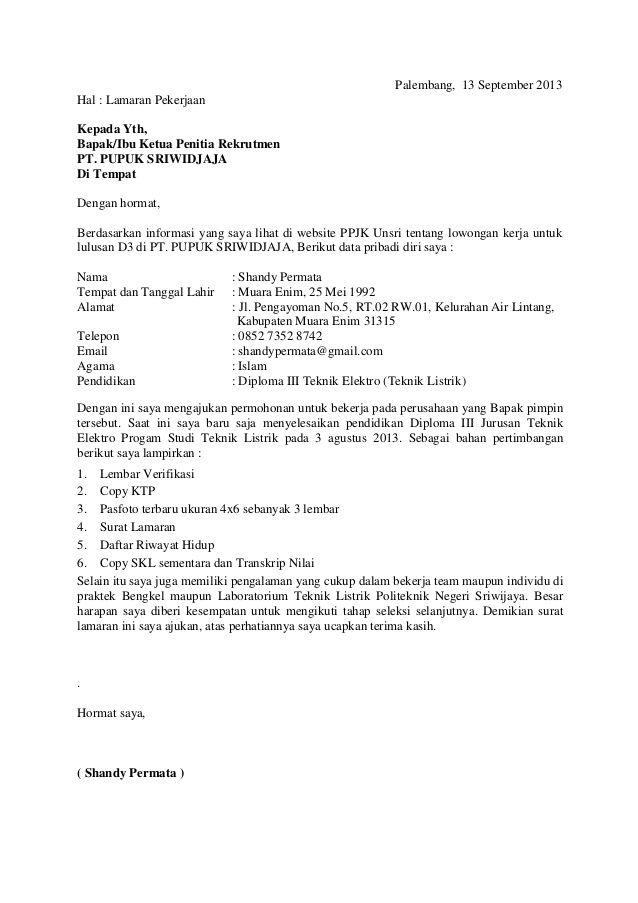 Job Application Letter Sample For Hotel