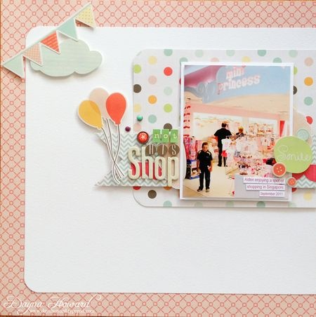 "Not His Shop - by Dayna Howard using Echo Park Paper Co's ""Sweet Day"" collection."