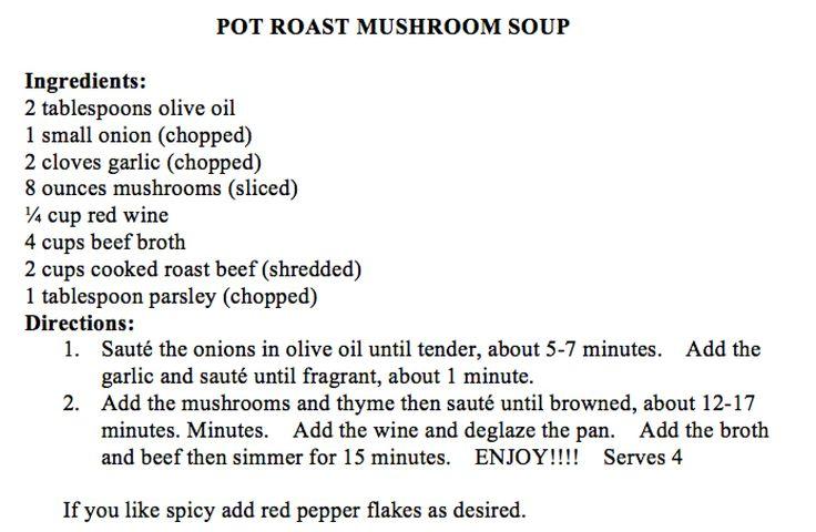 Pot Roast Mushroom Soup | Soups | Pinterest