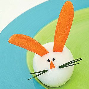 Hoppy Hare  Cut a slice from the side of an egg so that it sits flat. Insert two flat carrot slice ears and chive whiskers. Stick on a carrot triangle nose and black sesame seed eyes.