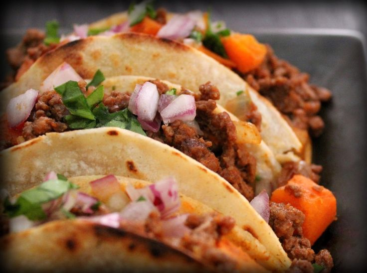 spicy beef sweet potato tacos - think I'll try subbing carrots for the ...
