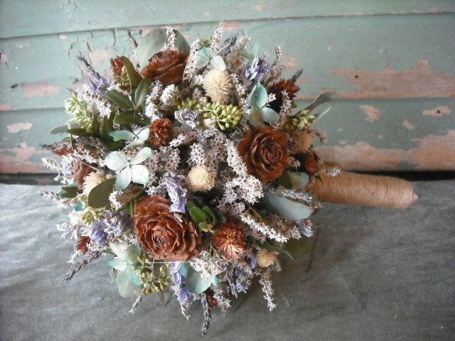 dried flower bridal bouquet with birch handle in tiffany