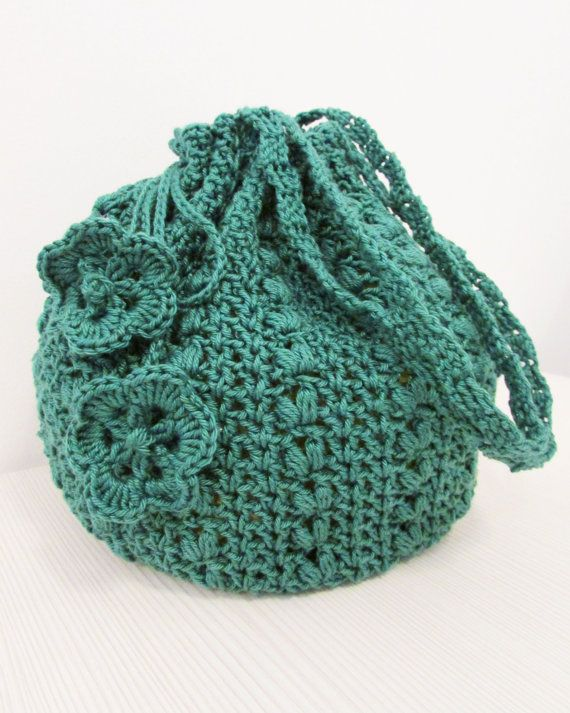 Crochet Bucket Bag : Emerald green crocheted bucket bag by KatarinaBagsnPurses on Etsy, $17 ...