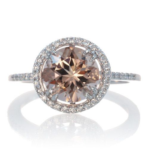 14k white gold classic solitaire morganite