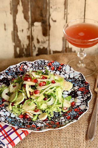 Apple and pomegranate brussels sprout salad