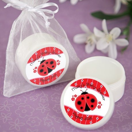modern ladybug lip balm personalized baby shower favors