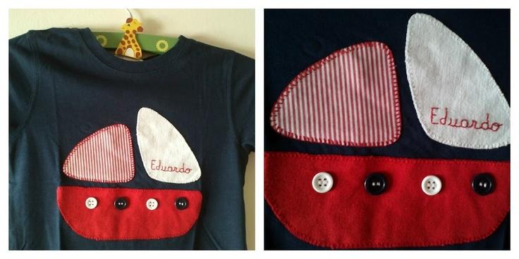 Camiseta barco patchwork