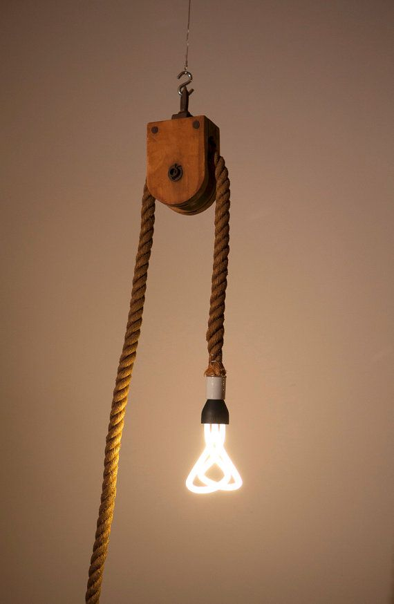 Antique Barn Rope Pulley Industrial Light Fixture Contemporary De