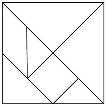 'math' for kids - make a tangram  with fabric for kids and use a small 'design board' to 'paste' it on