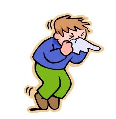 cartoon of a child with the flu