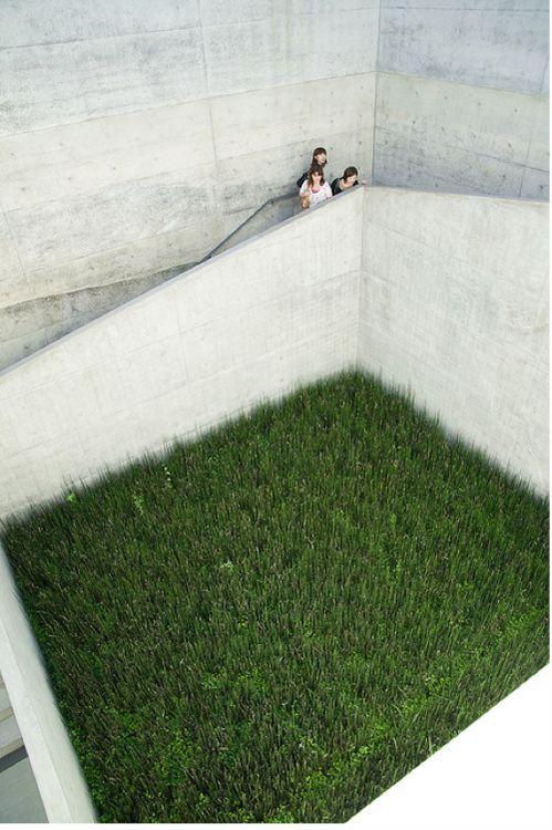 Concrete  Ando's Chichu green courtyard.Naoshima Island, Kagawa, Japan