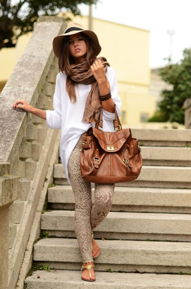 long white shirt,scarf,leather handbag,hat and tights