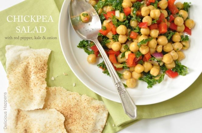 Roasted Red Pepper Hummus with Chickpea Salad