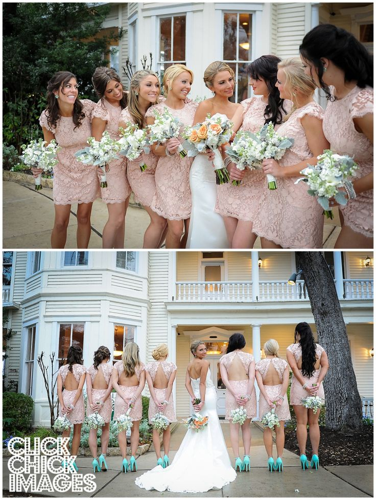 Peach lace bridesmaids dresses with Tiffany blue shoes. Perfection.