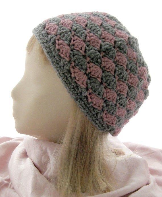 Handmade Crochet Skull Cap Beanie Hat - Heather Gray and Dusty Rose P ...
