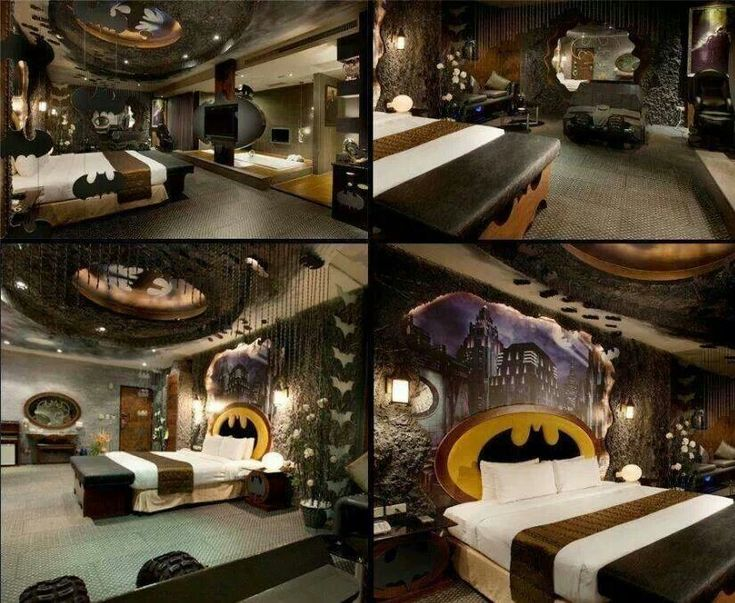 Bat cave bedroom batman for the home pinterest for Home by johker design