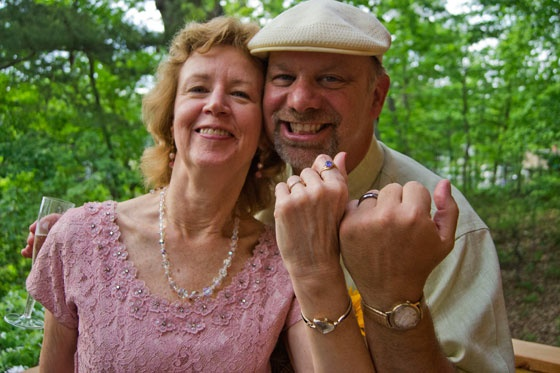 Newlyweds and watch fans, John Behle and Vera Herath from Annapolis, MD, got married on May 4, 2012 wearing vintage Hamiltons they gave each other as wedding presents. John wears a '60s Hamilton Electric Nautilus 604 (with original band) and Vera wears a restored Hamilton Vesta circa 1959.