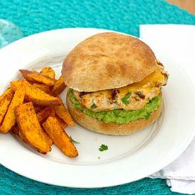 Cheddar Jalapeno Chicken Burgers with Guacamole