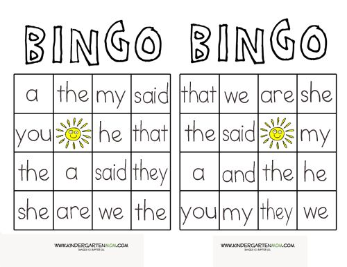 printable  sight word  Word Printables games Pinterest Sight ESL   board