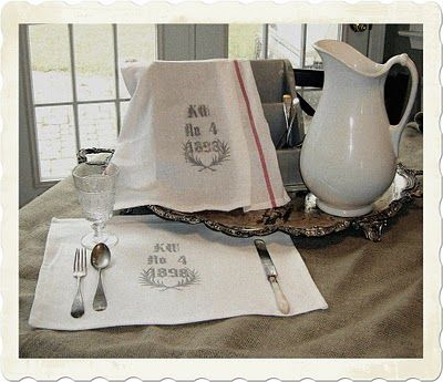 Grain Sack inspired placemats