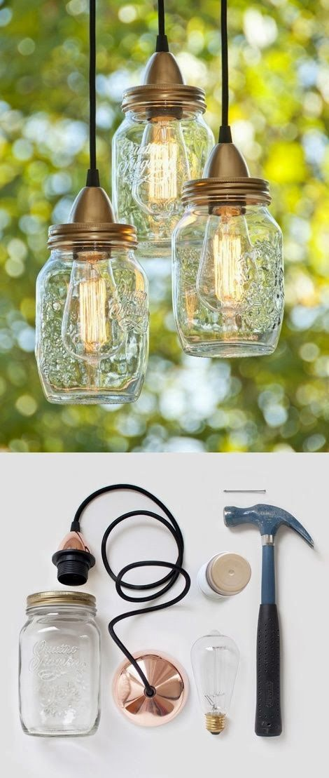 Mason jar hanging lights diy pinterest for Hanging lights made from mason jars