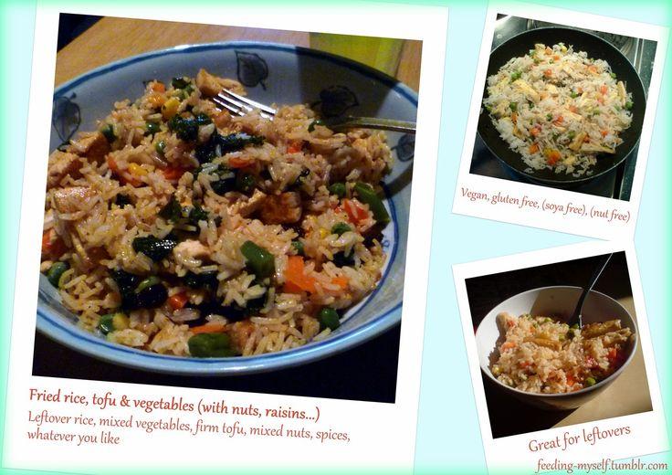 Fried rice, tofu, vegetables, nuts & dried fruit [vegan, gluten free]