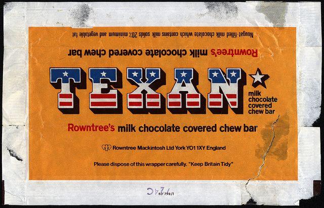 UK - Rowntree-Mackintosh - Texan chocolate candy bar wrapper - 1970s by JasonLiebig