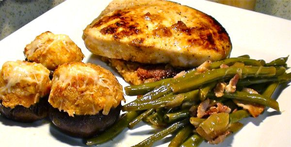 ... crawfish bread cake .. with bacon and onion french style green beans