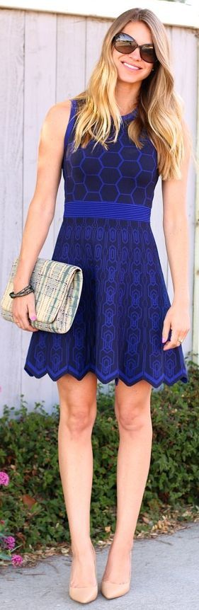 Print Scalloped Hem Dress