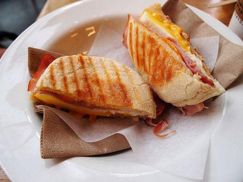 breakfast panini | I'd eat that. | Pinterest