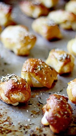 Cheese Stuffed Pretzel Bites with Rosemary Salt | Recipe