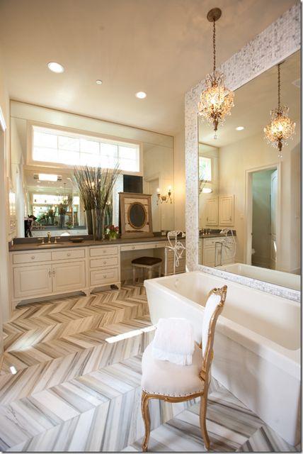 herringbone tile floor