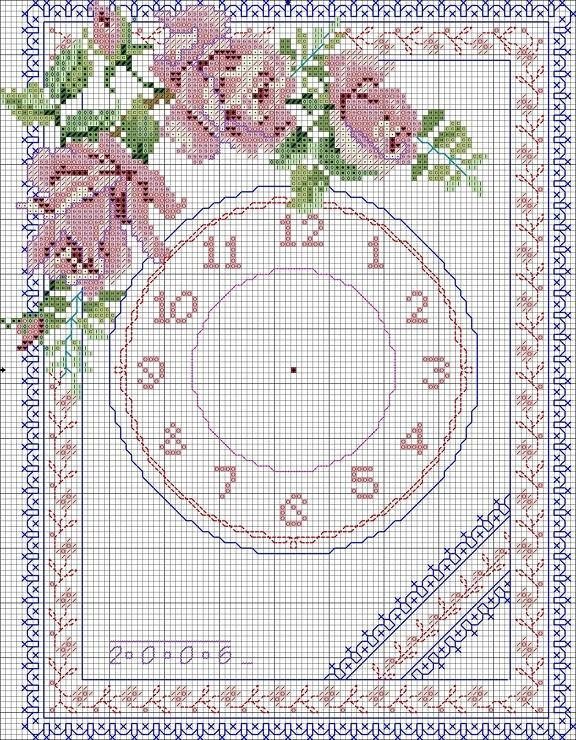 Вышивка крестом схема циферблат 70
