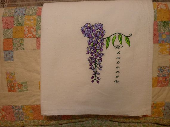 Wisteria Flour Sack Dish Towel by DMYEmbroideryDesign on Etsy, $5.00