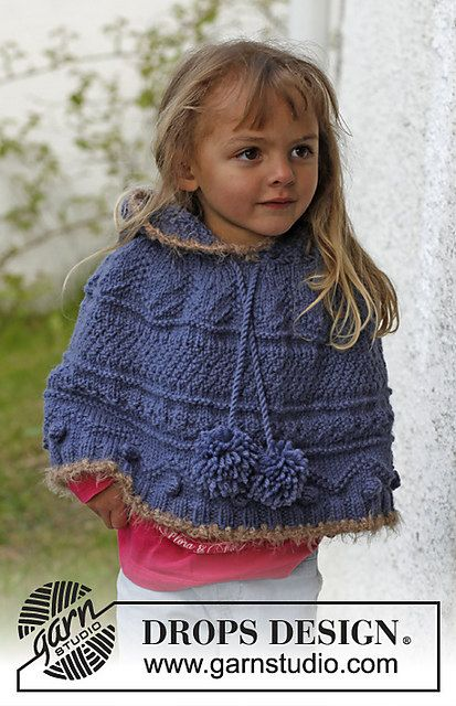 Hand Knit Girls Ponchette  Knit Child Poncho by KnuttinButYarn, $89.99