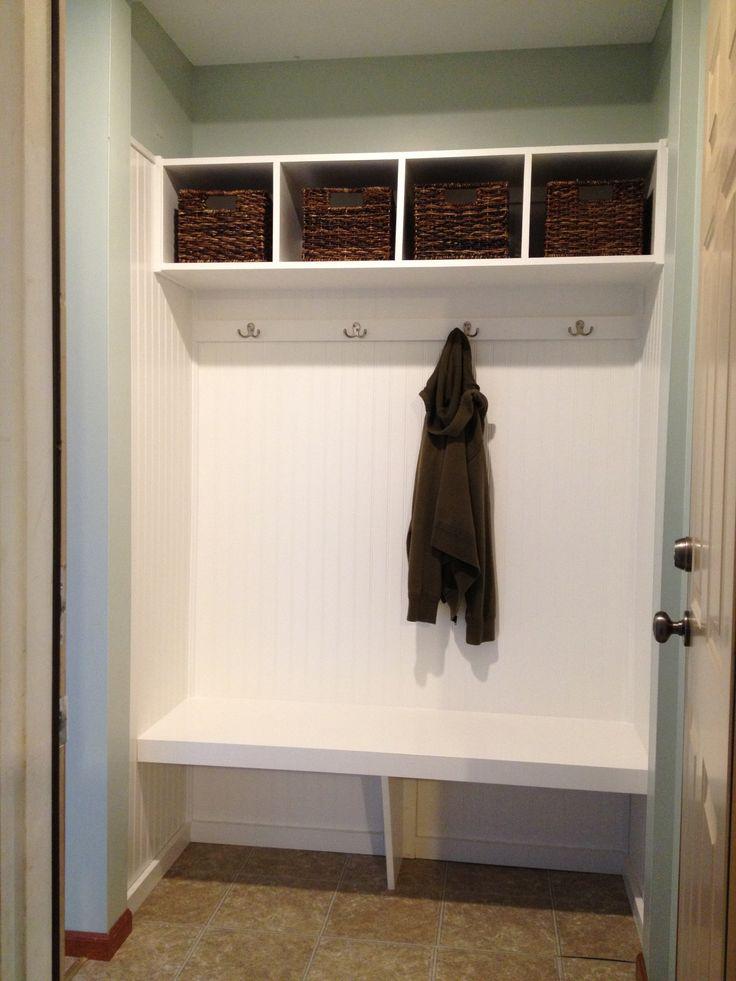 mini mudroom with bench | closet turned mini-mudroom ...