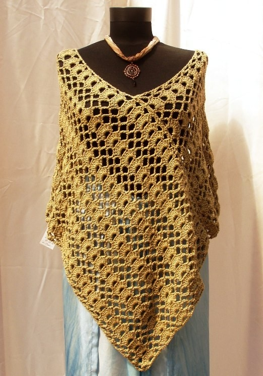 Crochet Poncho : Hand crocheted Poncho Sahara Khaki Lace Shrug