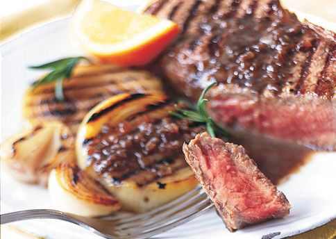 Grilled Steak and Onions with Rosemary-Balsamic Butter Sauce: Recipe ...