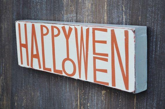 Decor Custom Wood Halloween Sign Happy Halloween Home Decor