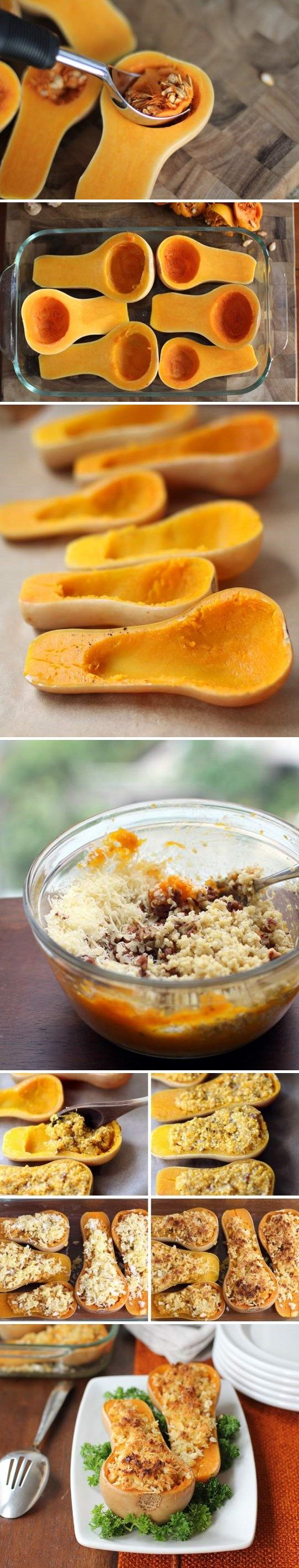 Twice-Baked Butternut Squash With Quinoa, Pecans & Parmesan